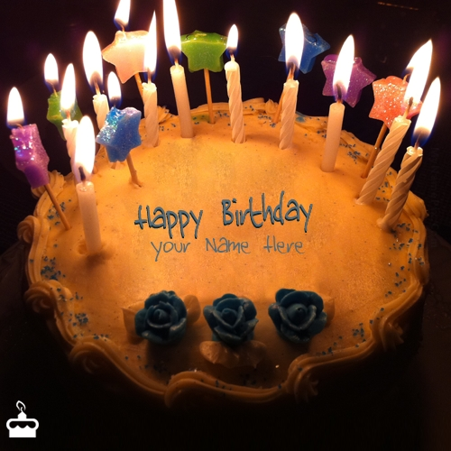 Write Name On Cake Candles Birthday With