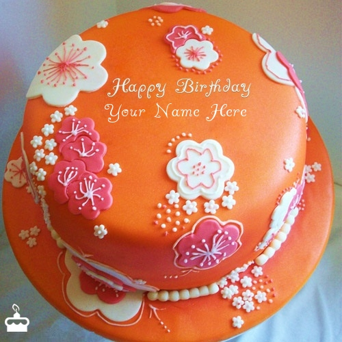 Beautiful Orange Birthday Cake With Name