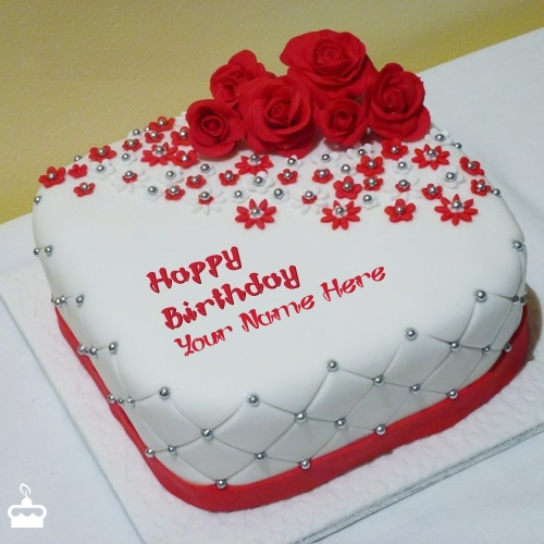 Write Name On Cake Beautiful Rose With