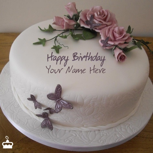 Write Name On Cake Birthday Flower With