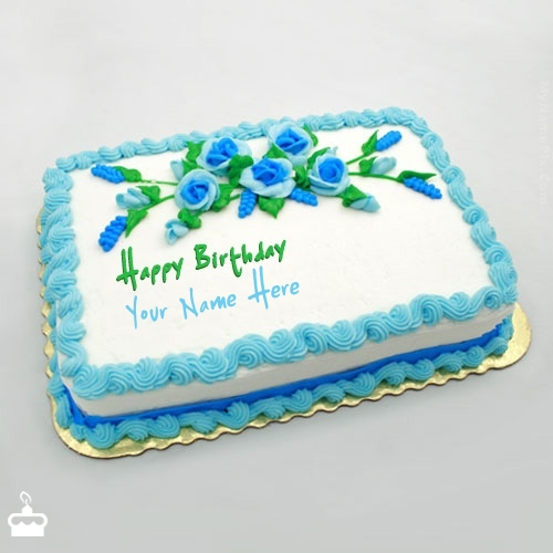 Write Name On Cake Birthday Flowers With