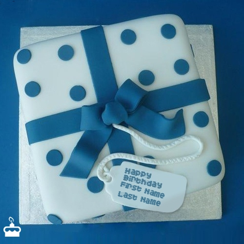 Blue Birthday Cake With Name