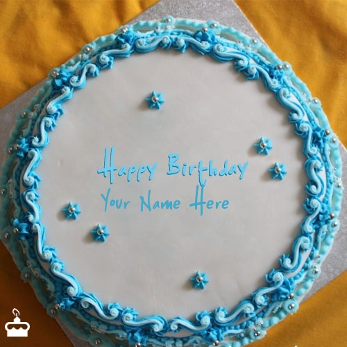 Write Name On Cake Blue Floral Birthday With