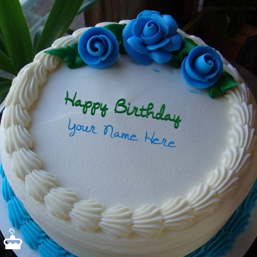 Write Name On Cake Blue Flower Icecream With