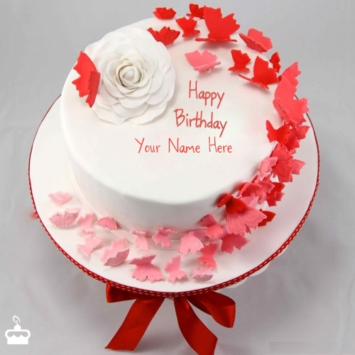 Images Of Birthday Cake With Name Rajesh : Butterflies Birthday Cake With Name