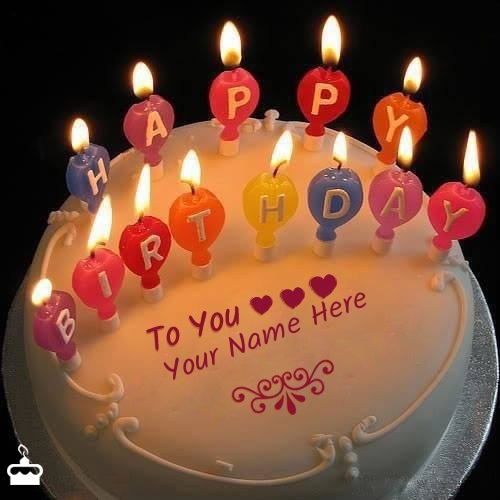 Write Name On Cake Candles Happy Birthday With