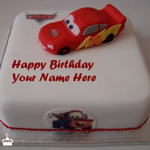 Write Name On Cake Car Birthday For Kids With