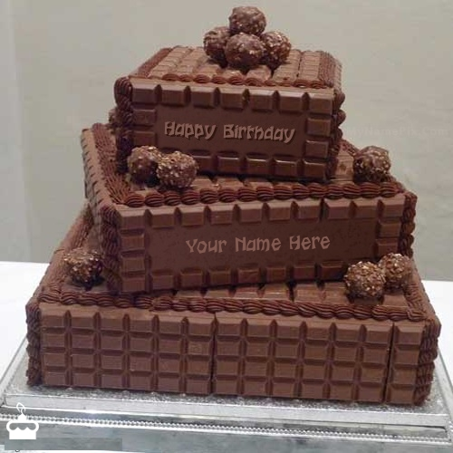 Write Name On Cake Chocolate Layered Birthday With
