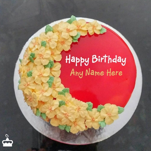 Write Name On Cake Decorated Red Velvet For Friends Birthday With