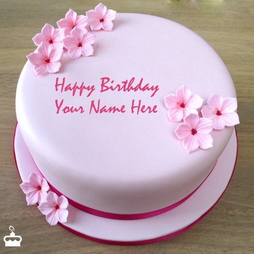 Write Name On Cake Pink Birthday With