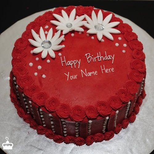 Write Name On Cake Red Elegant Birthday With