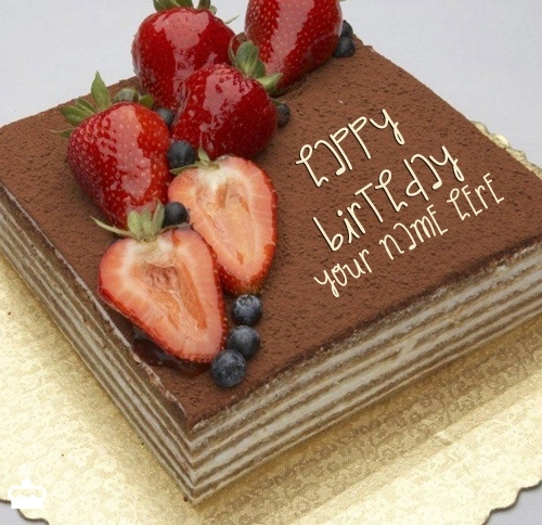 Strawberry Topped Chocolate Cake With Name