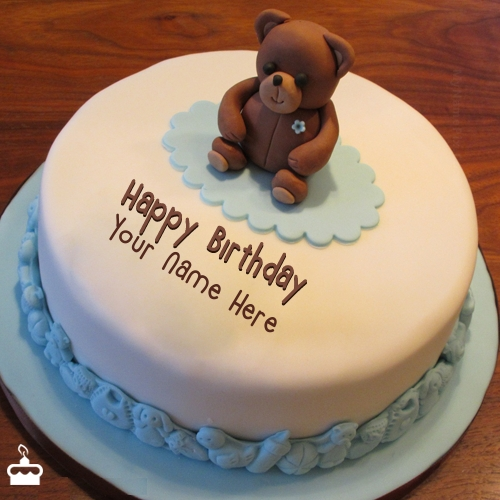 Birthday Cake Images With Name Khushbu : Teddy Bear Birthday Cake With Name