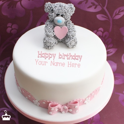 Teddy Birthday Cake With Name