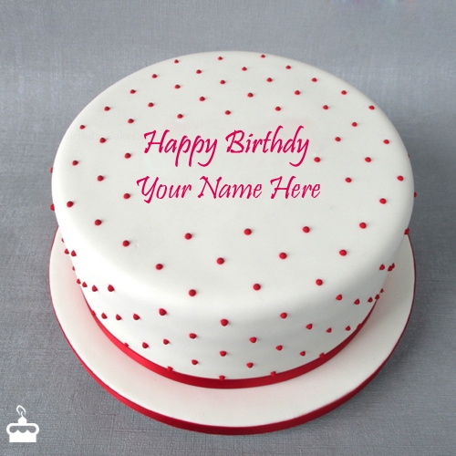 Write Name On Cake Polka Birthday With